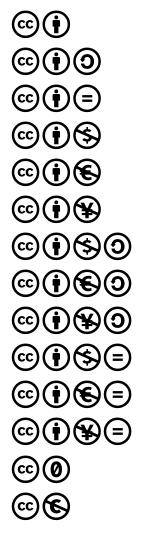 Logos des différentes combinaisons de la licence Creative Commons